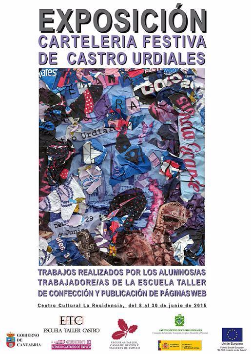 Cartel anunciador de la EXPOSICIÓN DE CARTELERÍA FESTIVA (trabajos realizados por alumnado de la Escuela Taller de Diseño Páginas WEB)